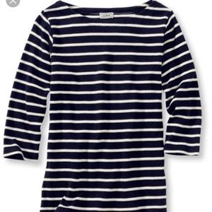 LL bean French sailor boat neck 3/4 sleeve top